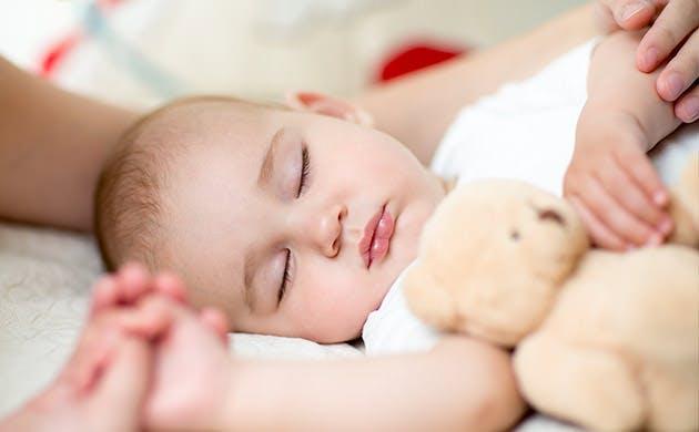 En sød lille dreng sover med sin bamse