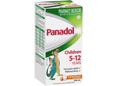 panadol colour-free suspension 5-12 years