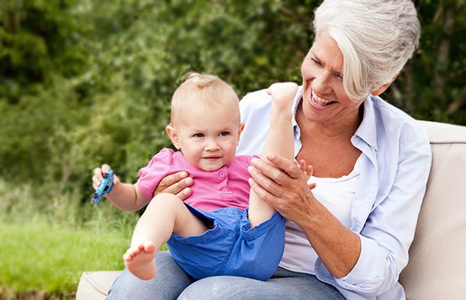 Happy Grandmother With Baby Girl Outdoors