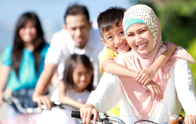 Family out for bicycle ride