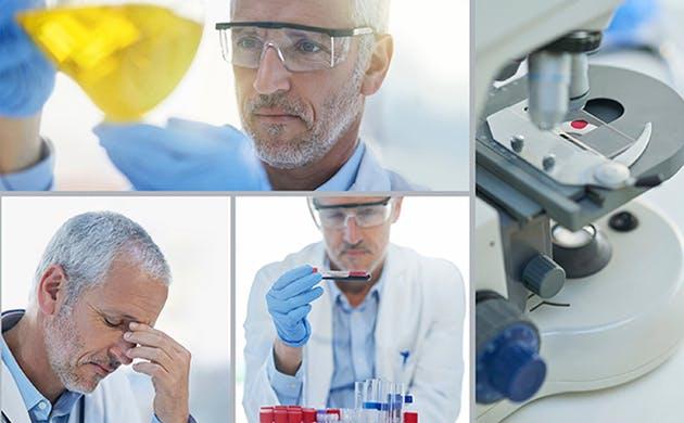 Secuencia de imágenes de un especialista haciendo un análisis de laboratorio.