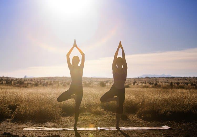 Dua Wanita Melakukan Pose Yoga di Luar Ruangan