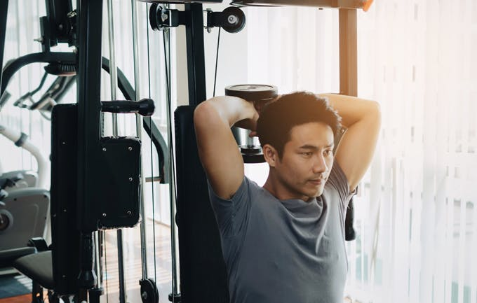 Senior man at gym