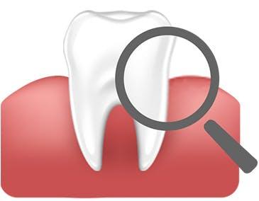 Ilustrace zobrazující zdravý zub a dáseň pod lupou