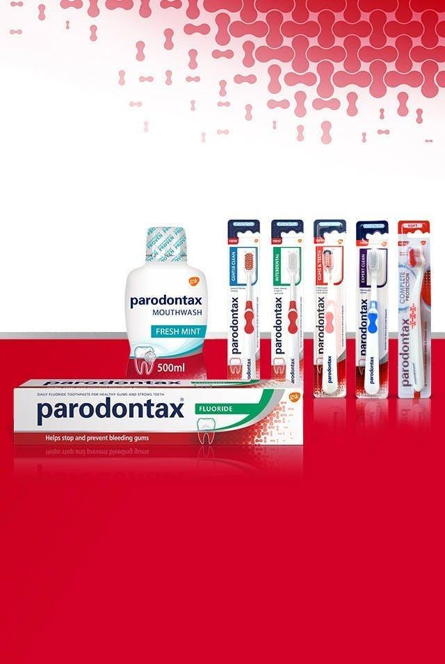 parodontax kasdienės priežiūros produktų linija