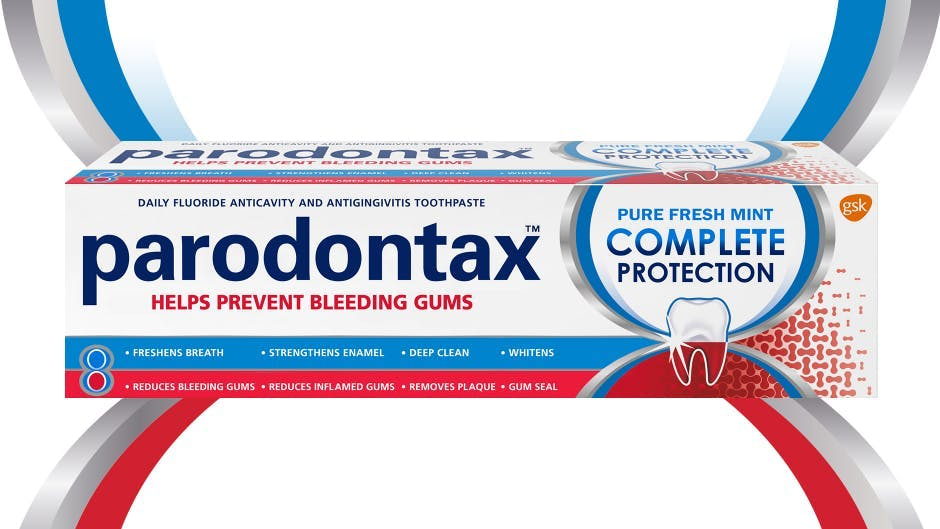 Box of parodontax Complete Protection toothpaste in Pure Fresh Mint flavor