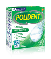 40 Tablet Box of Polident 3 Minute Daily Cleanser Triple Mint Fresh Flavour