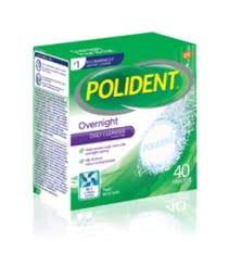 40 Tablet Box of Polident Overnight Daily Cleanser Triple Mint Fresh Flavour