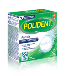 32 Tablet Box of Polident Partials Daily Cleanser Triple Mint Fresh Flavour