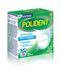 32 Tablet Box of Polident Whitening Daily Cleanser Triple Mint Flavour