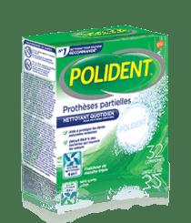 Boîte de 32comprimés Nettoyant quotidien Polident pour prothèses partielles Fraîcheur de menthe triple