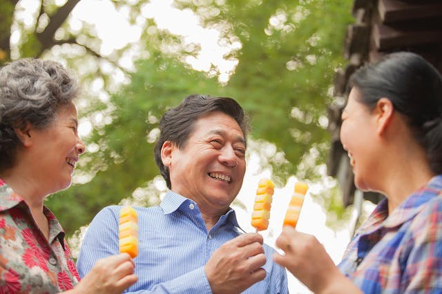 Chinese family eating ice cream