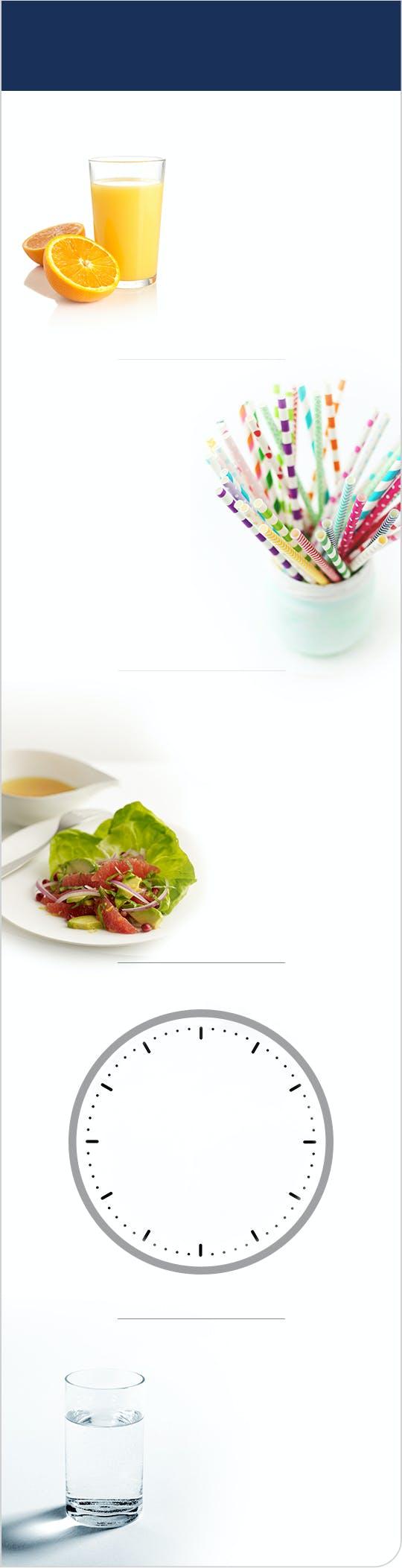 Images d'un jus d'orange, d'un verre d'eau, d'une salade, de pailles et d'une horloge.