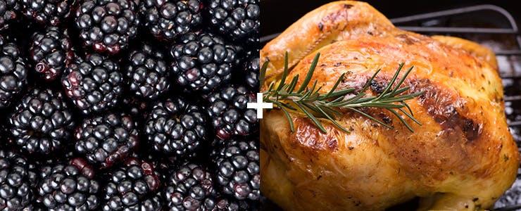 Mûres et poulet de Cornouailles rôti