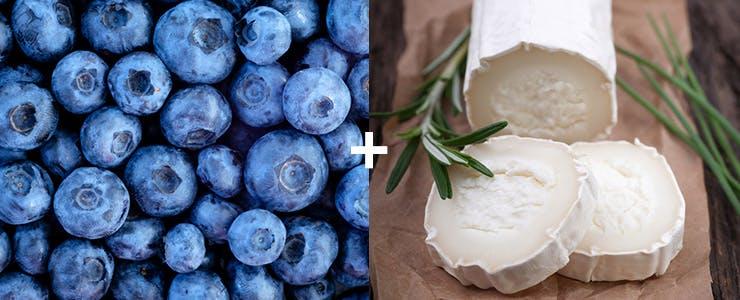 Gros plan sur du fromage de chèvre et des bleuets acides