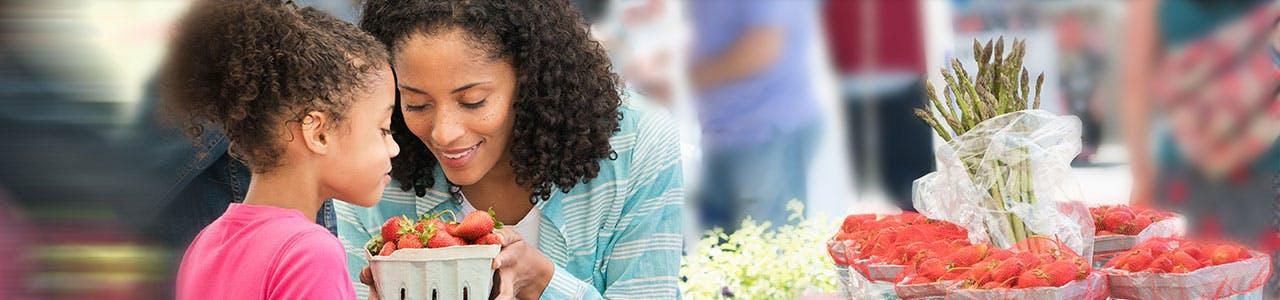 Woman Girl Strawberries Slider