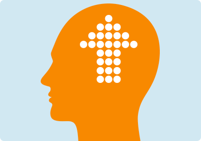 Illustration of a large arrow inside a brain indicating that the number of nicotine receptors increases with prolonged smoking