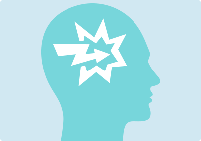 Illustration of a powerful impact inside the brain to represent the powerful cravings and strong emotional reactions that are commen upon quitting smoking