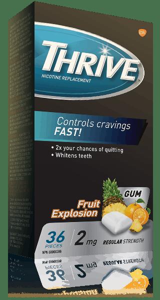 THRIVE Regular Strength 2 mg gum in Fruit Explosion