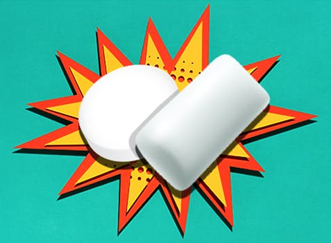 THRIVE Lozenge and Gum icons over an illustration of an explosion
