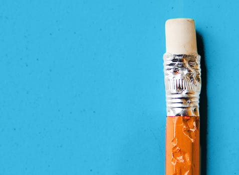 Chewed end of a pencil with eraser