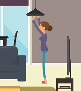 Illustration of a woman changing a light bulb
