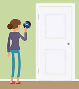Illustration of a woman turning down the thermostat