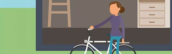 Illustration of a woman getting on her bike