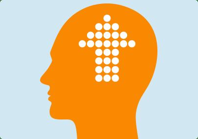 Illustration d'une grande flèche à l'intérieur d'un cerveau indiquant que le nombre de récepteurs nicotiniques augmente avec un tabagisme prolongé
