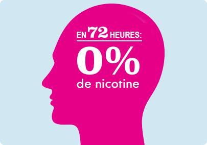 Illustration d'une tête indiquant que la réserve de nicotine dans le sang a été épuisée dans les 72 heures suivant l'arrêt du tabagisme.