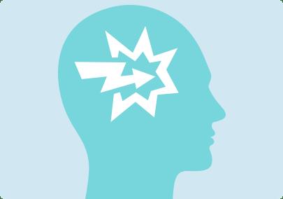 Illustration d'un impact puissant à l'intérieur du cerveau pour représenter l'état de manque intense et les fortes réactions émotionnelles qui sont courants lorsqu'on arrête de fumer.