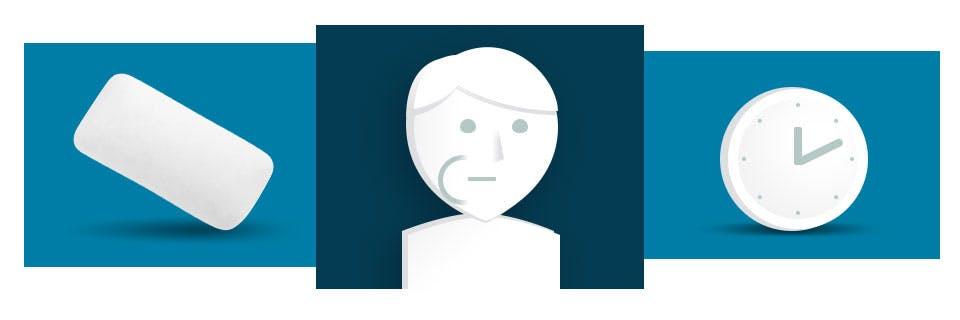 Icônes d'une gomme, d'une personne avec une gomme dans la joue et d'une horloge