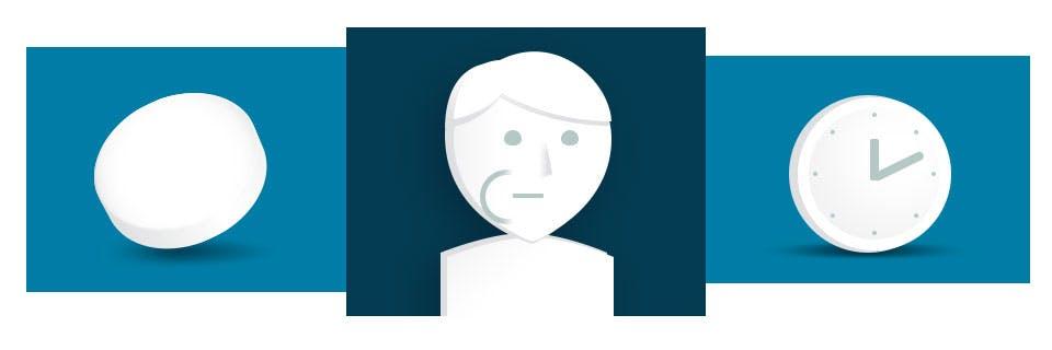 Icônes d'une pastille, d'une personne avec une pastille dans sa joue et d'une horloge