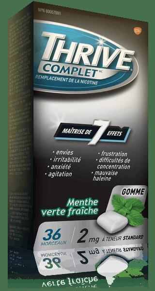 Gommes THRIVE Complet Menthe verte fraîche force régulière à 2 mg