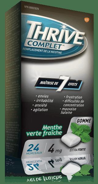 Gommes THRIVE Complet Menthe verte fraîche extra-fortes à 4 mg