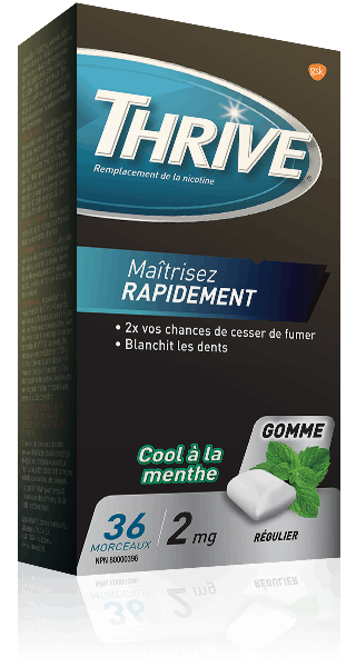 Gommes THRIVE Cool à la menthe force régulière à 2 mg