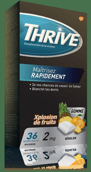 Gommes THRIVE Xplosion de fruits force régulière à 2 mg