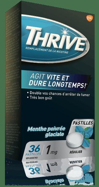 Pastilles THRIVE Menthe poivrée glaciale force régulière à 1 mg