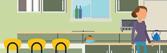 Illustration d'une femme dans sa cuisine