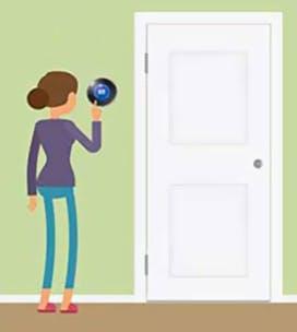 Illustration d'une femme baissant le thermostat