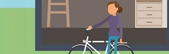 Illustration d'une femme enfourchant son vélo
