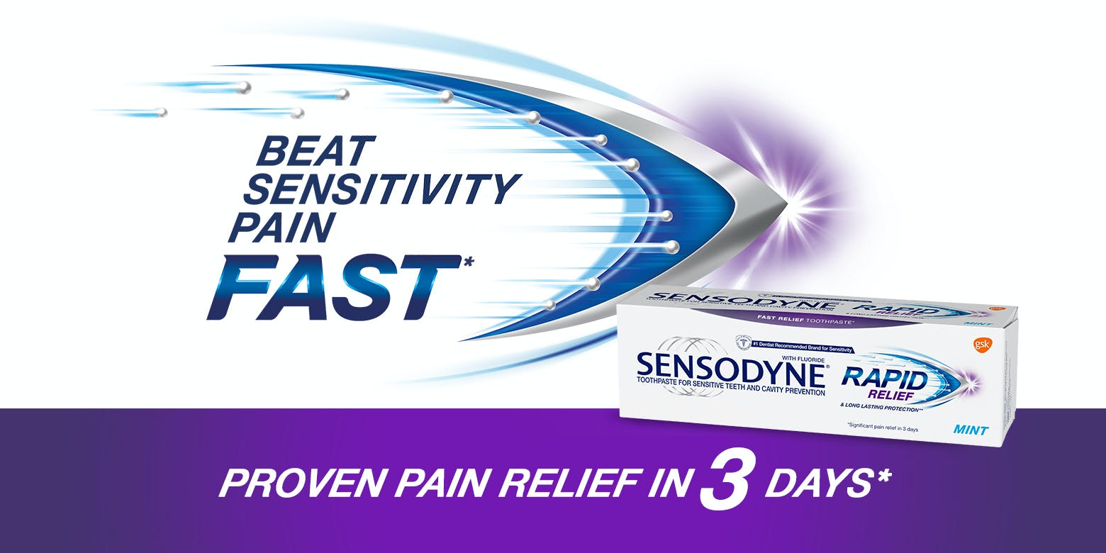 Sensodyne Rapid Relief toothpaste for tooth sensitivity is engineered to relieve pain in 3 days