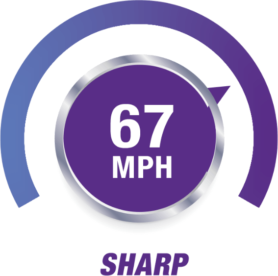 Speedometer that reads 67 MPH