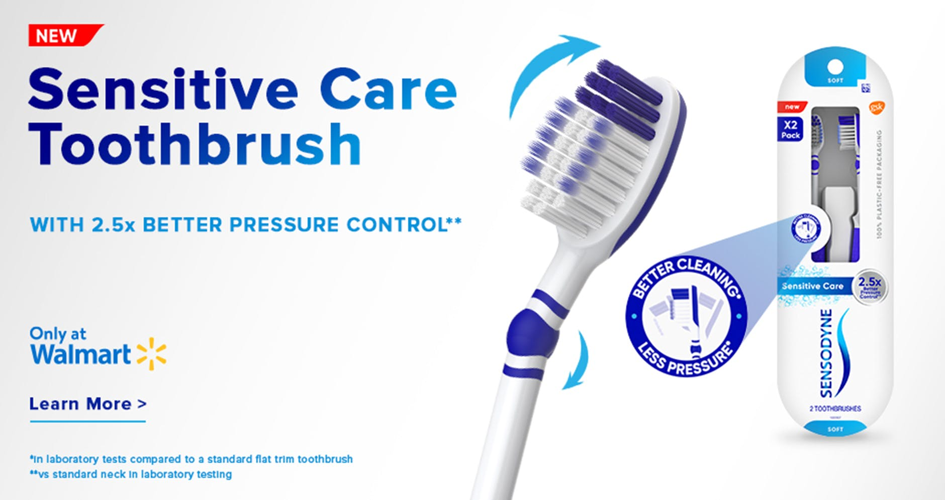Sensodyne Sensitive Care Toothbrush close-up shot and packaging