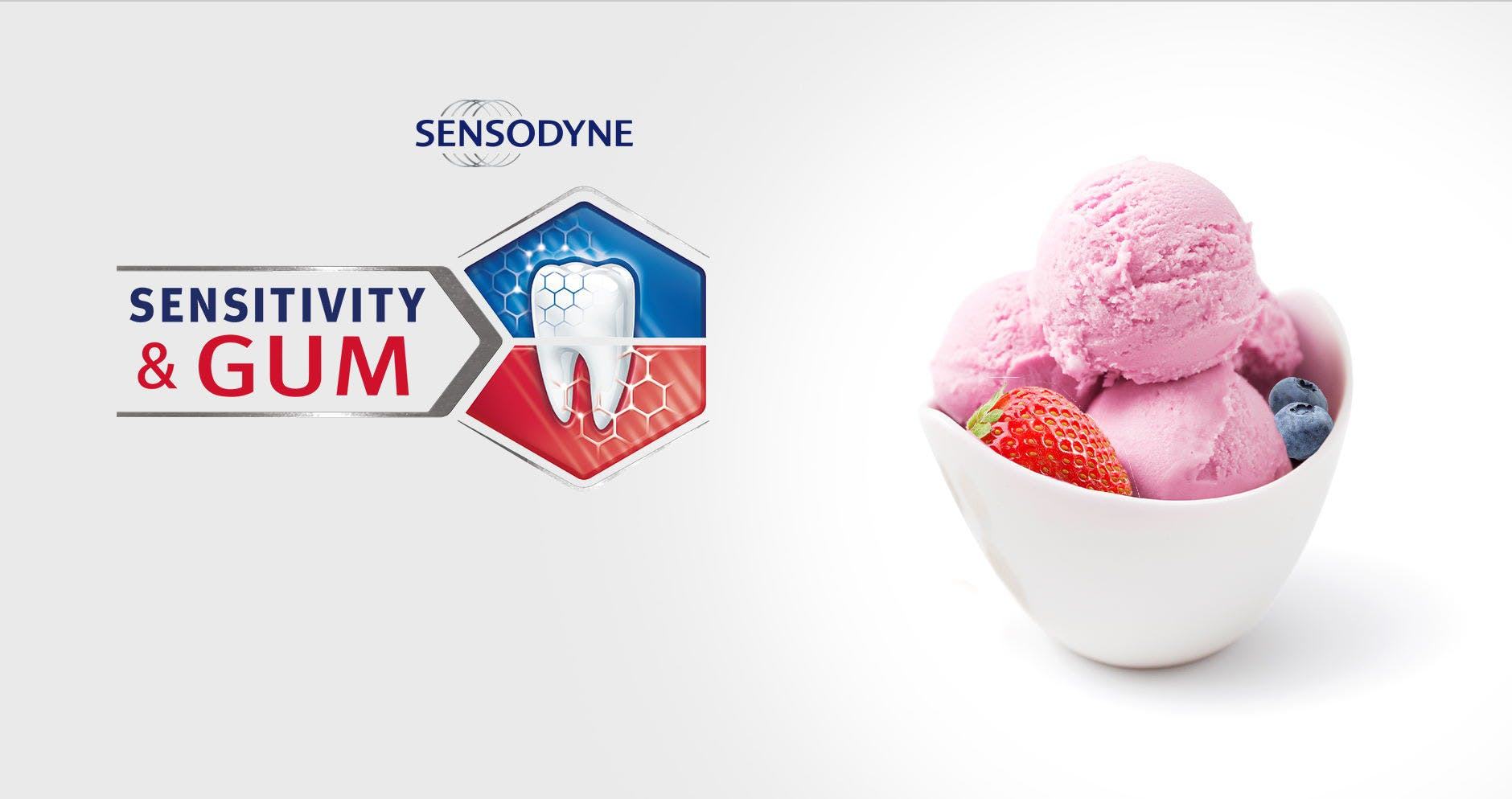 Bowl of ice cream and berries with Sensodyne Sensitivity & Gum logo