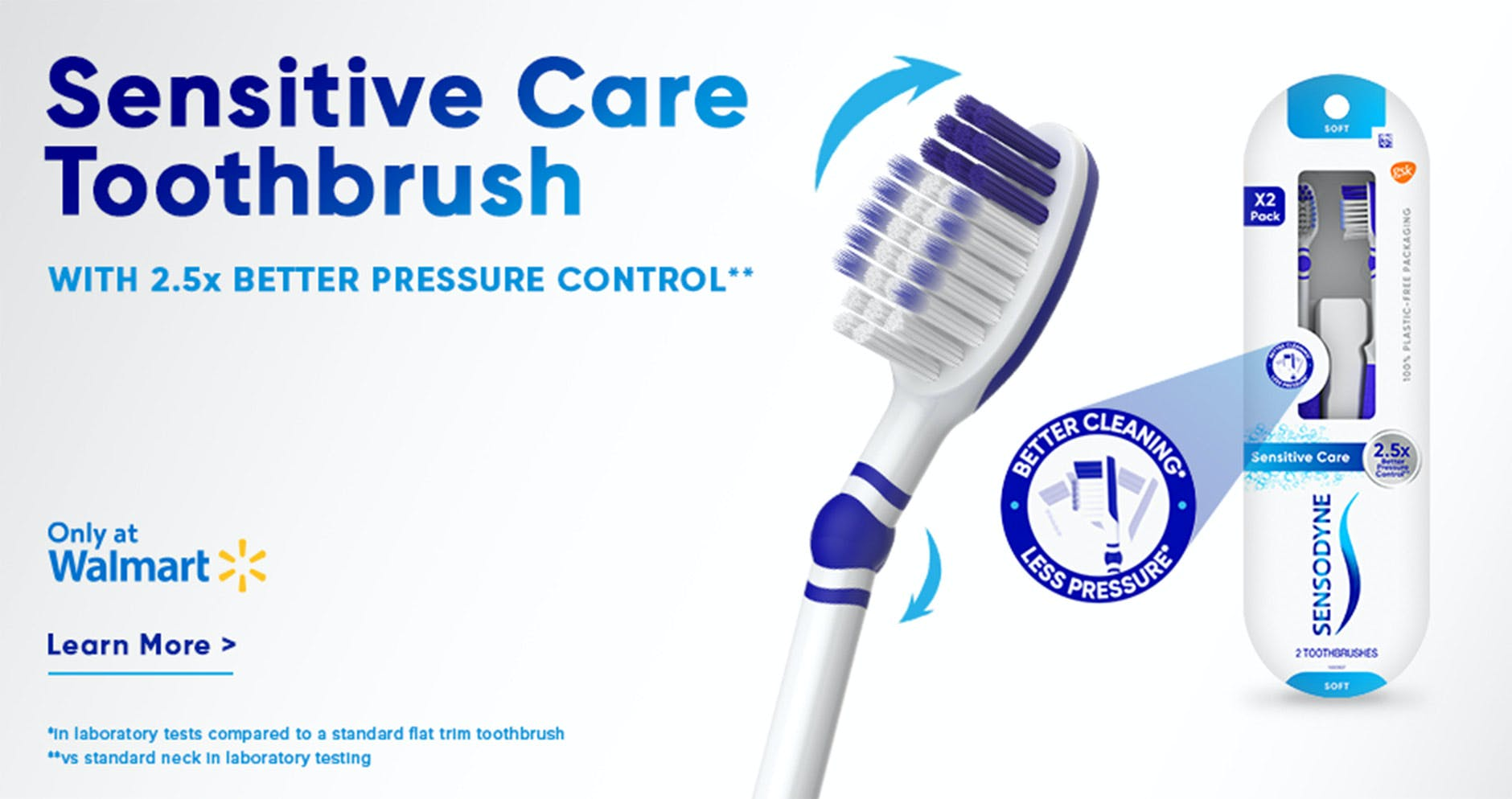 Sensodyne Sensitive Care Toothbrush close-up shot and packaging