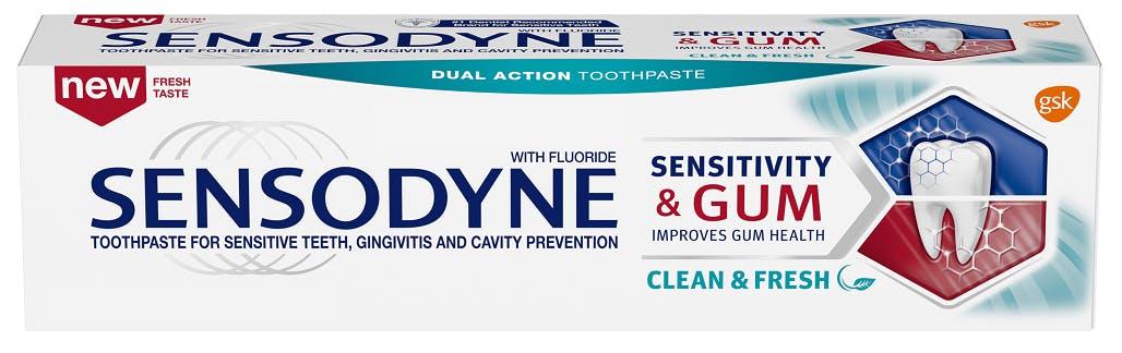 Sensodyne Sensitivity & Gum Clean & Fresh toothpaste in packaging