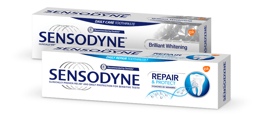 Sensodyne Brilliant Whitening and Sensodyne Repair and Protect toothpaste products