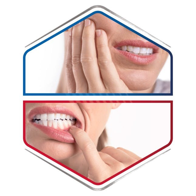 People smiling having sensitive teeth and gum problems