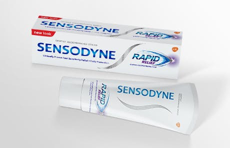 Sensodyne Rapid Relief toothpaste pack and tube